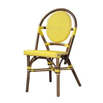 Outdoor Cottage Paris Bistro Fabric Side Chair [Set of 2] Color: Yellow