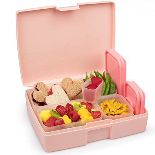 Leak-proof Bento Lunch Box with 5 Removable Containers (Translucent Pink)