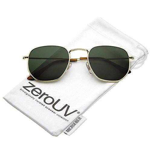 zeroUV - Modern Geometric Metal Slim Arms Neutral Colored Flat Lens Hexagonal Sunglasses 51mm