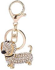 NA kryształ górski jamnik pies wisiorek metalowy brelok torebka torba na rękę samochód zawieszka brelok prezent (biały)