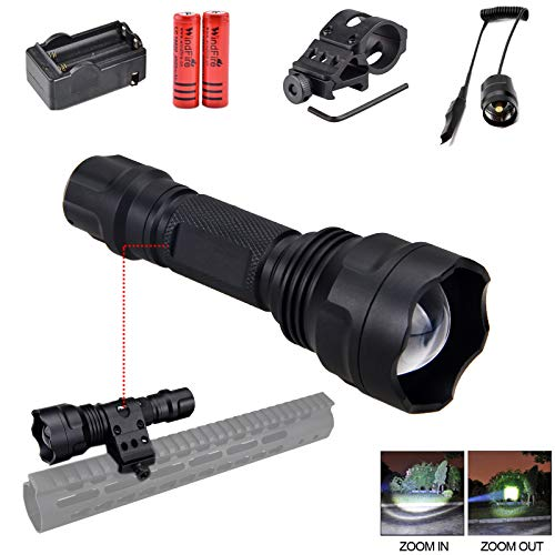 WINDFIRE CREE LED Tactical Flashlight LED Weapon Light Handheld LED Torch, 2000Lumen Zoomable Flashlight with Picatinny Rail Mount for AR15 Outdoor Hunting Shooting, Batteries Included