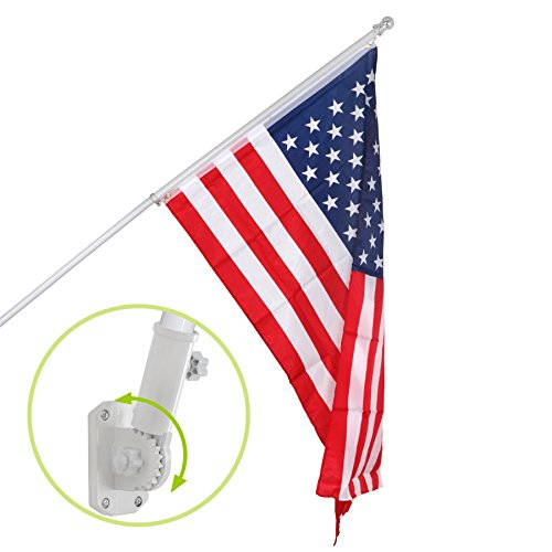 F2C 6FT Silver/White Tangle Free Spinning Flagpole Kit Outdo