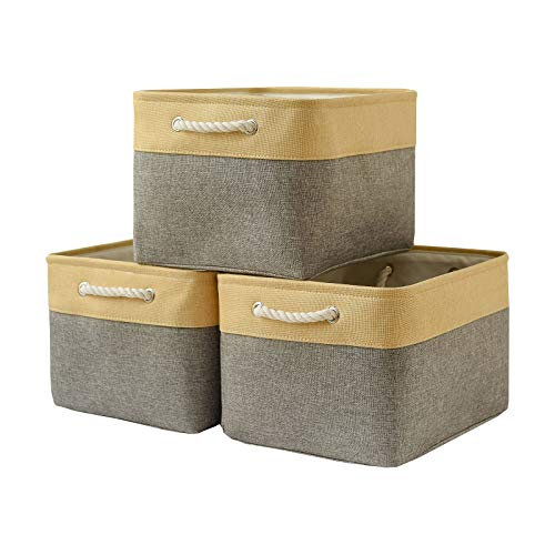 Locipe Large Storage Baskets for Organizing 3pack Fabric Baskets Set Collapsible Baskets for Shelves,Decorative Bins with Handles for Linens,Clothes,Toy,Home Closet Office