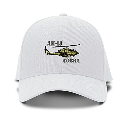 Helicopter Hats (Ah-1J Cobra Helicopter Name Embroidery Embroidered Adjustable Hat Cap White)