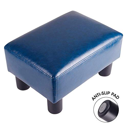 Touch-Rich Footrest Small Ottoman Stool PU Leather Modern Seat Chair Footstool, Royal Blue
