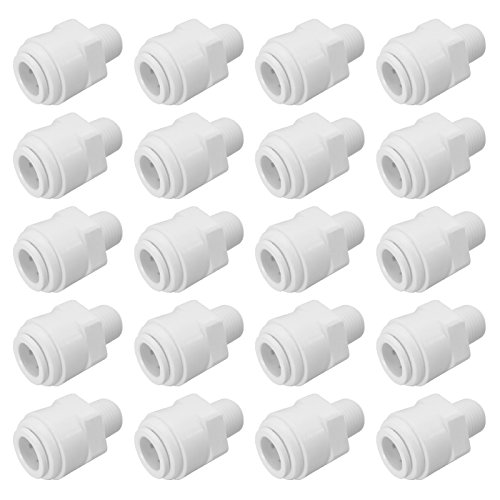 Express Water Male Connector 1/4'' x 3/8'' Quick Connect QC Reverse Osmosis RO System Fitting Part (20) by Express Water