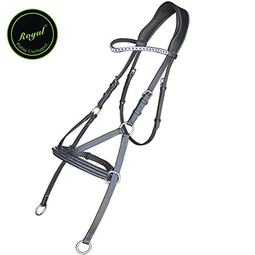 Royal Fancy Square Raised Bitless Bridle With Crystal Diamond Bowband./ Vegetable Tanned Leather./ Stainless Steel Buckles. (Fancy Sewn Bridle)