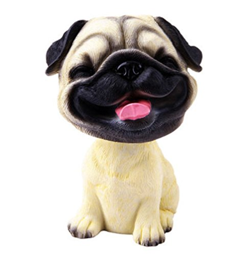 OZUKO Pug Bobblehead Mini Puppy Dog Figurine Car Dashboard Decoration Nodding Shaking Head Toys for Kids Room (Laugh Dog)