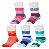 Epeius Big Girls' 5 Pair Pack Colorful Seamless Rainbow Stripes Crew Socks for 12-15 Years,Shoe Size 3.5-7,Red/Blue/Green/Orange/Purple