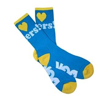 DGK I Love Heart Haters Crew Socks - OSFA (Various Colors & Styles) (Aqua/Yellow)