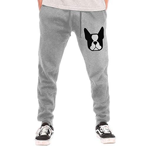 BibiQQgait Men's Jogger Sweatpants Boston Terrier Middle Rise Fleece Sweatpants Gray]()