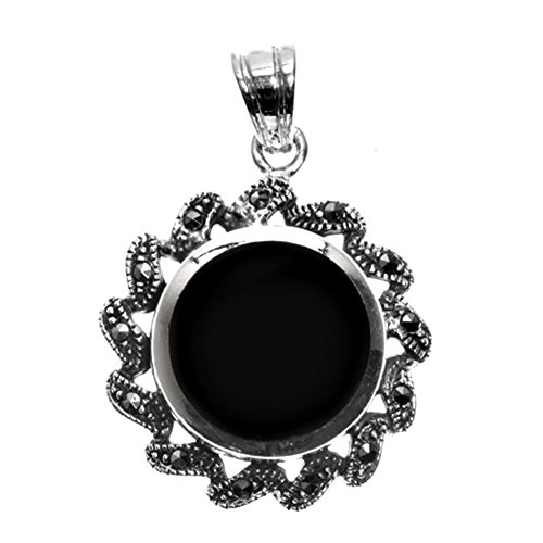Pendant Black Simulated Onyx Simulated Marcasite .925 Sterling Silver Charm - Silver Jewelry Accessories Key Chain Bracelet Necklace Pendants