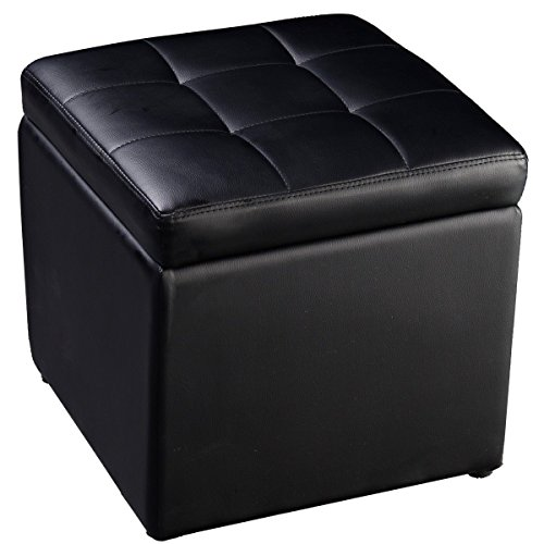 Cube Ottoman Pouffe Storage Box Lounge Seat Footstools with Hinge Top (Black)
