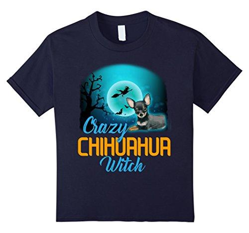Kids Crazy Chihuahua Witch Dog Halloween Costume Shirt 12 (Crazy Dog Lady Costume)