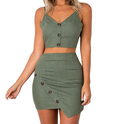 LIKESIDE 2Pcs Womens Button Crop Tops Bandeau Skirt Set Ladies Summer Holiday Skirt O-Neck Sleeveless Solid Sling (S, Army (Military Crop)