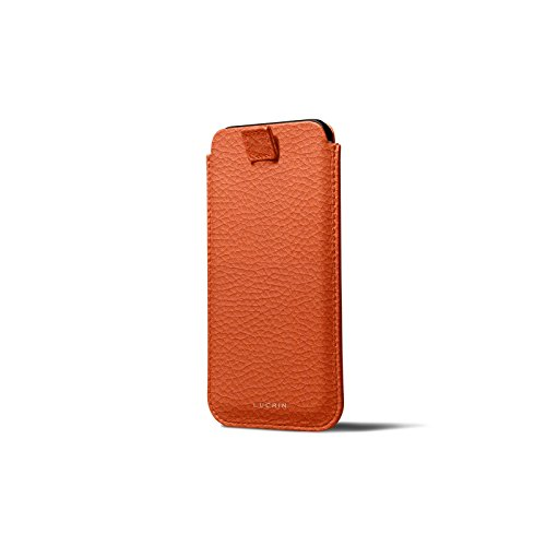 Latest Lucrin - Leather Case with Pull Tab Compatible with iPhone XR and Wireless Charging - Orange - Granulated Leather orange iphone xr case 4