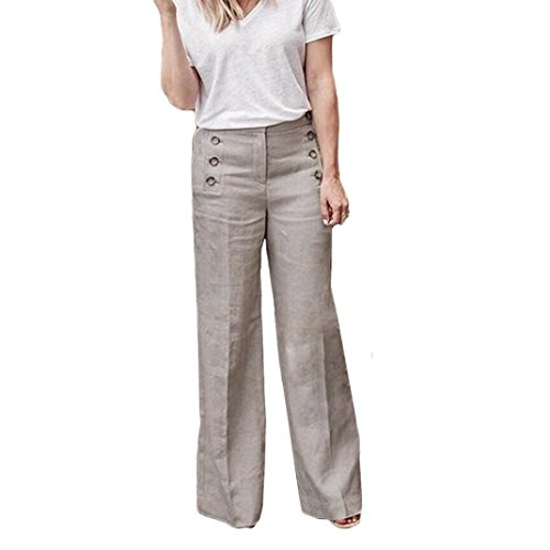 Linen Capri Set - Women's Straight Pants,Sexy Casual Loose Elastic Button Waist Wide Leg Trousers by-NEWONESUN