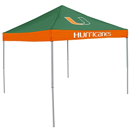 Logo Brands NCAA Miami Hurricanes Unisex Adult Economy Canopy Tailgate Tent, Multicolor, One Size