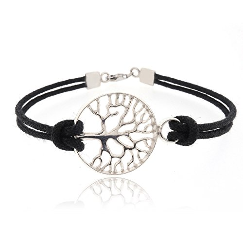 SOVATS Tree Of Life 925 Sterling Silver Rhodium Plated Charms With Black Cord Bracelet For Women - Lucky Symbol, Perfect Gift for The Ones You Love, Size 8