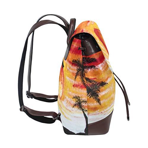 Kvinnor PU-läder solnedgång palmer strandsemester Cypern ryggsäck handväska resa skola axelväska ledig dagpackning