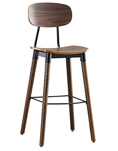 (O&K Furniture 30-Inch Pub Bar Height Barstool, Modern Industrial Dining Bar Stool Chairs with Wood Seat and Backrest, Rustic Brown Finish (1- PC))