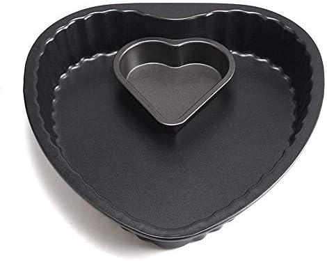 BBGSFDC Plateau de Cuisson créatif en Forme de Coeur Moule gâteau du Four en Acier au Carbone des ménages antiadhésif Moule de Cuisson de Panification Biscuit Plateau Noir