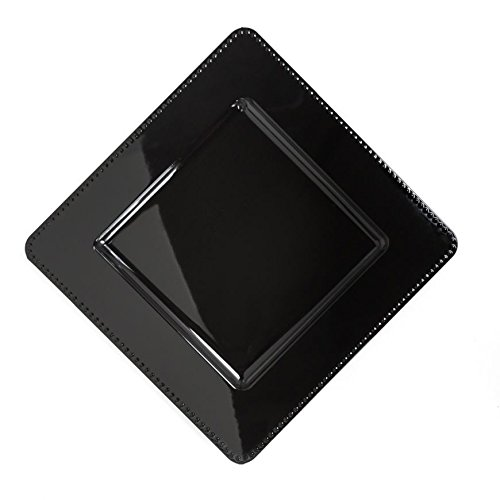 13 in. Black Square Charger Plates 4/pack