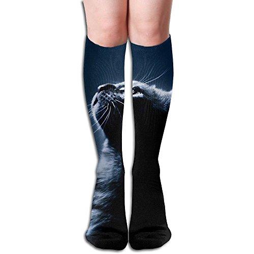 Funny Cat Burglar Costume (Breathable Football Sock Halloween Black Cat Crew Socks Over The Calf Tube Long Socks For Women And Men)