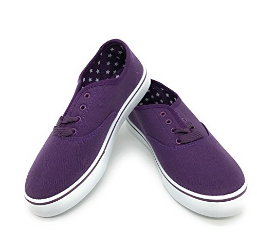 men Canvas Round Toe Lace Up Flat Sneaker Oxford Boat Shoe,Purple,Size 10 (Purple Womens Sneakers)