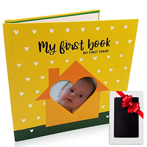 First Year Baby Memory Book - Baby Shower Gift for Recording Newborns Each Milestone with Area for Handprints and Footprints Frame Set - Keepsake Envelopes, Clear Touch Ink Pad and Photo Stickers