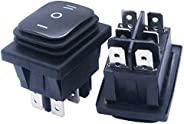 mxuteuk 2pcs Black 16A/250V 20A/125V 3 Position On/Off/On Waterproof Boat Rocker Switch KCD4-203N-BK
