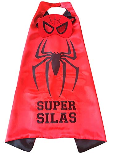 Thimbleful Threads Personalized Superhero Cape and Mask Set (Spider Cape with Black Embroidery) ()