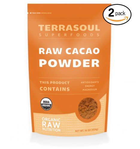Terrasoul Superfoods Raw Cacao Powder (Organic), 16-ounce (Pack of 2)