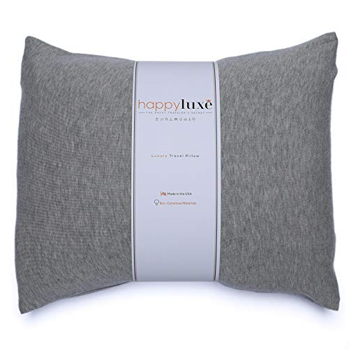 HappyLuxe Travel Pillow, Eco Friendly Accessories, This Small Neck Pillow is Bigger Than Most Airline Pillows, 18 x 13, Great for Air Travel, Hotels, Camping, Made in USA (Brushed Heather Grey)