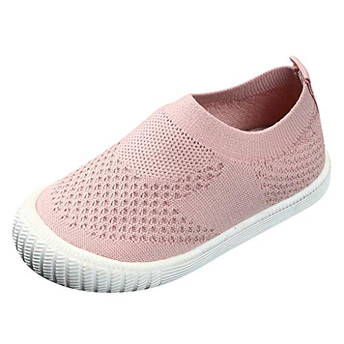 CCFAMILY Children Kids Baby Girls Boys Solid Mesh Sport Run Sneakers Casual Shoes Pink