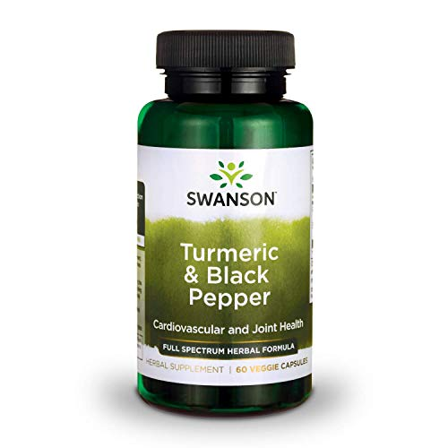 Swanson Turmeric and Black Pepper Organic Antioxidant Joint Cardiovascular Liver Detox Support Supplement for Better Absorption (Curcuma Longa 600 mg and Piper nigrum 5 mg per Serving) 60 Veg Caps