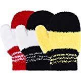 Satinior 3 Pairs Toddler Magic Stretch Mittens Little Girls Soft Knit Mitten Baby Boys Winter Knitted Gloves (2-6 Years Size, Multicolor 19)