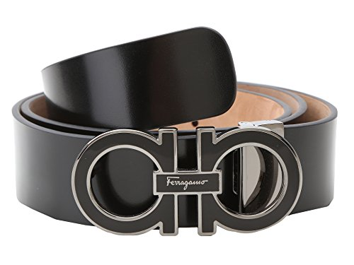 Salvatore Ferragamo Men's Adjustable Shiny Lux Nero Belt 38