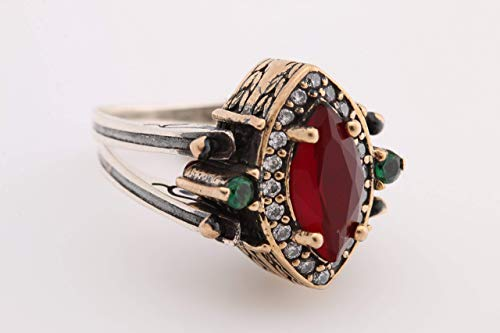 (Turkish Handmade Jewelry Reversible Marquise Cut Emerald Ruby Jade 925 Sterling Silver Ring All Size)