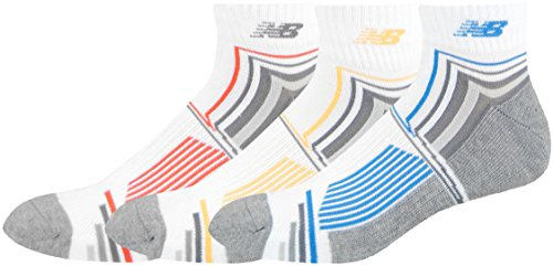 cd610021 New Balance Men's Performance Ankle Socks (3 Pack), White/Blue/Yellow/Red,  Size 9-12.5