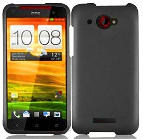 Gray Rubberized Hard Case Cover for Verizon HTC 6435 Droid DNA (Cover Htc Droid Dna 6435)