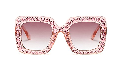 Large Jeweled Sunglasses for Women Crystal Bling Studded Oversized Square Frame (Pink, (Pink Pearl Shades)