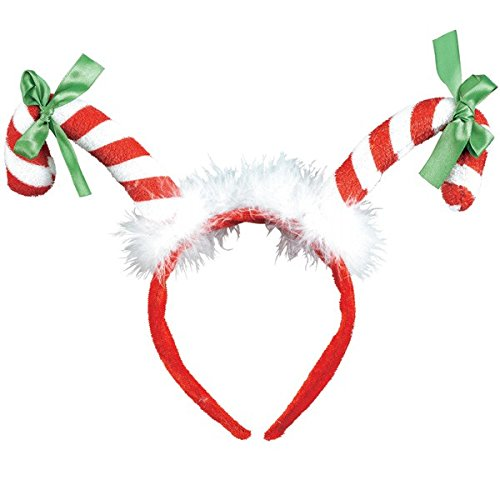 Amscan Fun-Filled Christmas and Holiday Party Candy Cane Headband, Multicolor, 13
