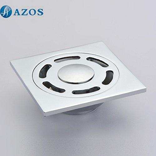 durable modeling AZOS Square Brass Chrome Polish Bathroom Shower Floor Drain Strainer PJDL004
