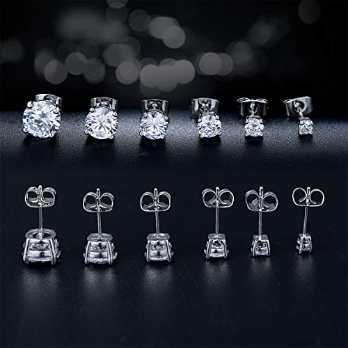 Outop Stud Earrings for Women Round Cubic Zirconia Stainless Steel Earrings Hypoallergenic Platinum Gold Plated 3-8mm (6 Pairs) by Outop (Image #4)