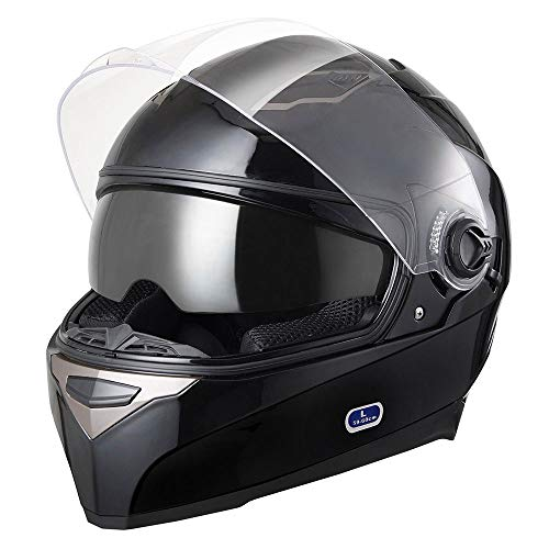 (AHR Motorcycle Full Face Helmet Dual Visors Lightweight ABS Air Vent Motorbike Touring Sports DOT Approved)
