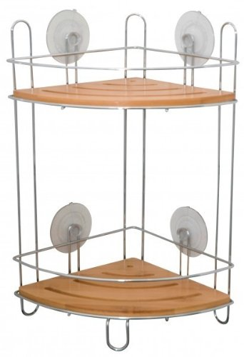 Quantio Bathroom Shelf Bamboo And Chrome Shower Caddy Corner Shelf