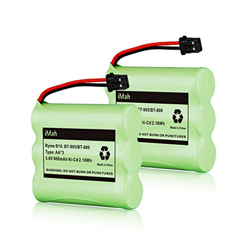 2-Pack iMah Ryme B10 BT-905 BT-800 Nickel-Cadmium Rechargeable Cordless Phone Battery Compatible with Uniden BT905 BBTY0663001 BBTY-0444001 BBTY-0449001, DC 3.6V 600mAh AA Type ()