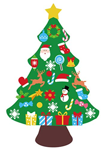jollylife 3ft DIY Felt Christmas Tree Set - Xmas Decorations Wall Hanging 32 Ornaments Kids Gifts Party Supplies (Gifts Cheap Diy Christmas)