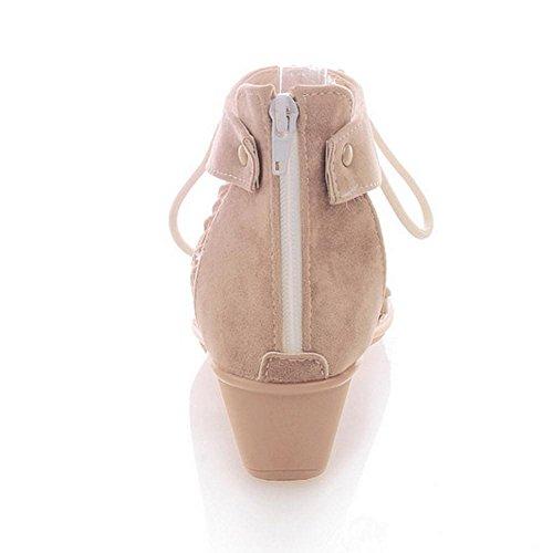 TAOFFEN Mujer Classique Tongs Sandalias Tacon De Cuna Cremallera Clip Toe Zapatos Con Cordones Beige